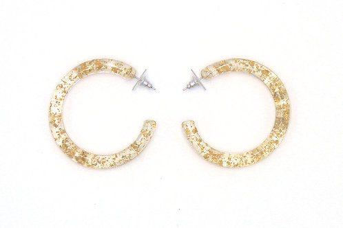 Clear Lucite and Gold Glitter Hoop Earring
