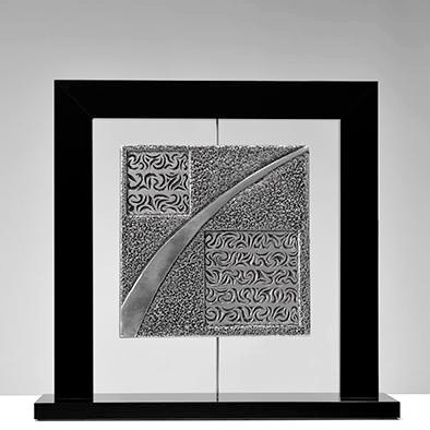 """Morgat"" Engraved and chiselled extra-fine aluminium Altuglas black frame 37x38cm"