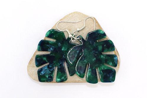Green Palm Leaf Earring