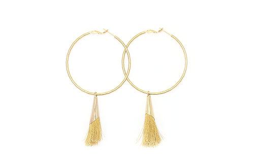 Hoop with Gold Tassel Earring
