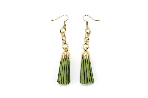 Long Gold and Green Tassel Earrings