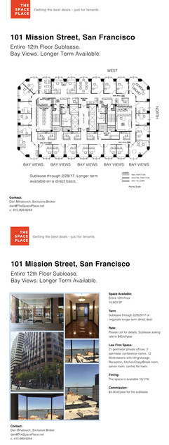 The Space Place lease flyer