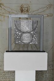 """Helios 2"" Aluminium panel Suspended on a black Altuglas frame 60x56cm"
