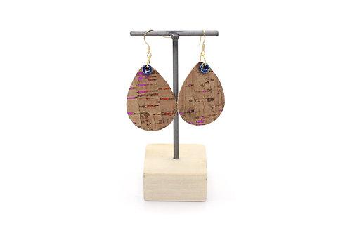 Cork Teardrop Earrings in Rainbow Cork
