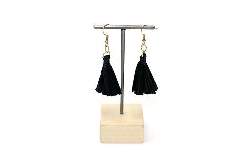 Black Raffia Tassel Earrings
