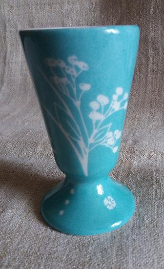mazagran ou petit vase 10,5 haut x 6 larg, décor floral