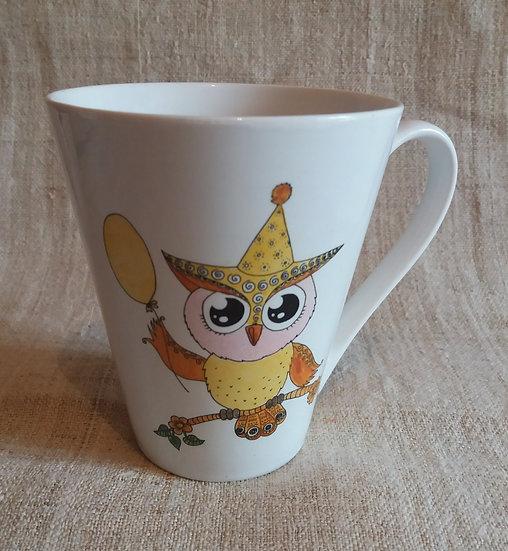 mug chouette peint main sur les 2 faces 10x10