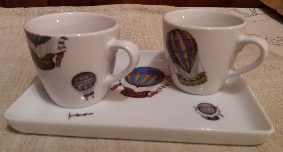 petit service à café (plateau et 2 tasses)