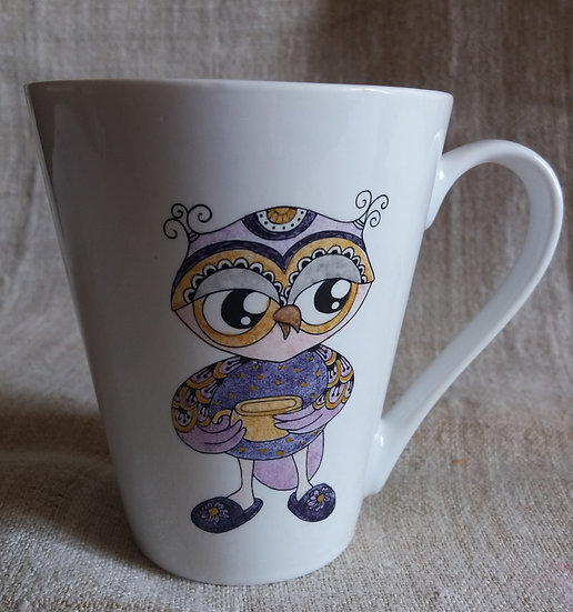 mug 10 haut x 10 larg, décor 2 chouettes