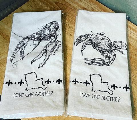 Crab or Crawfish tea towel