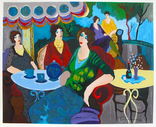 Itzhak Tarkay - Morning Tea serigraph