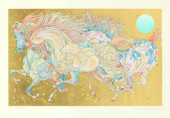 """GUILLUAME AZOULAY """"STARDUST"""" GOLD LEAF SERIGRAPH"""