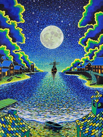 'Moonlight Mooring' Original Painting