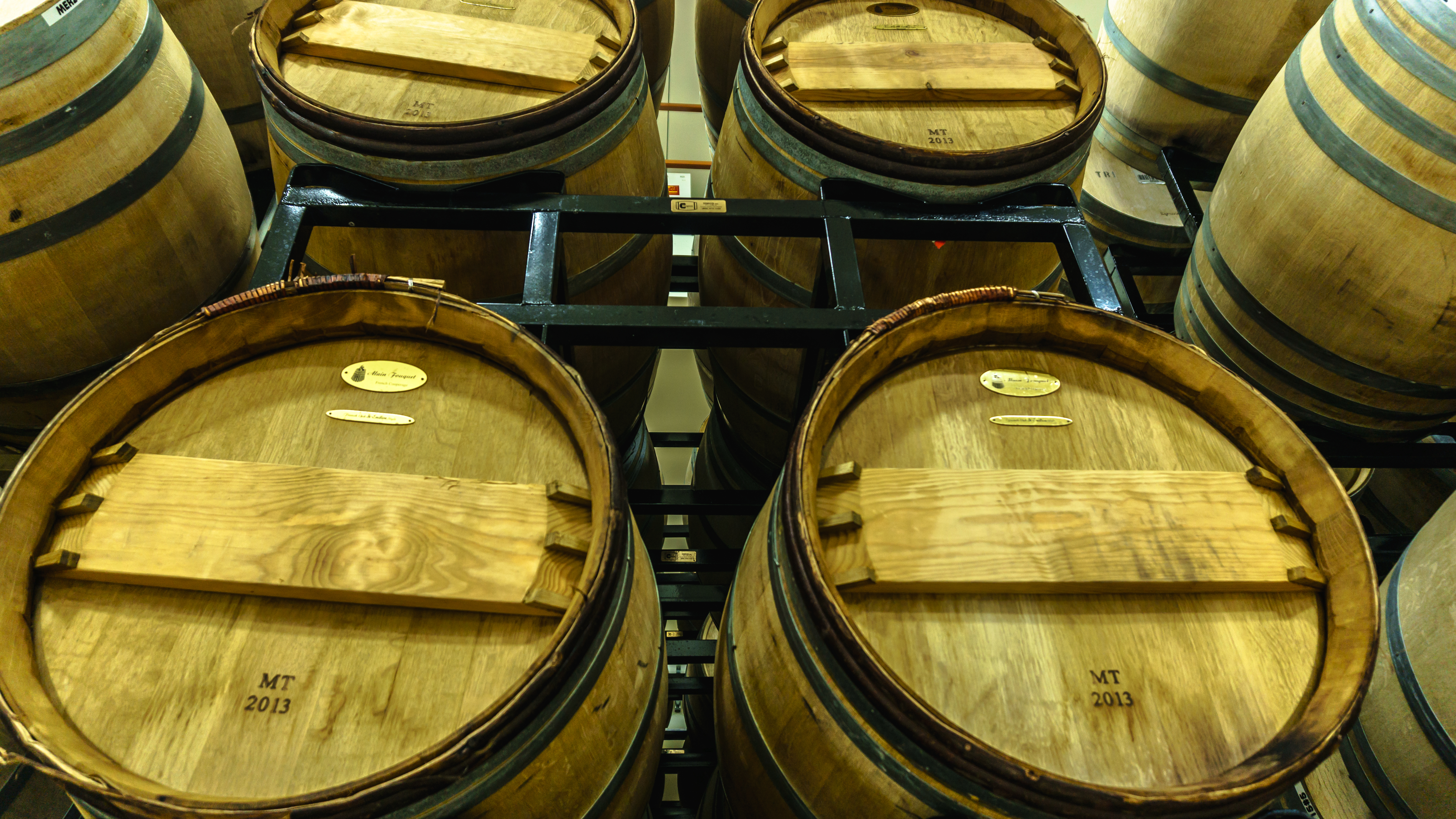 Racked barrels Cooper Ridge Vineyard