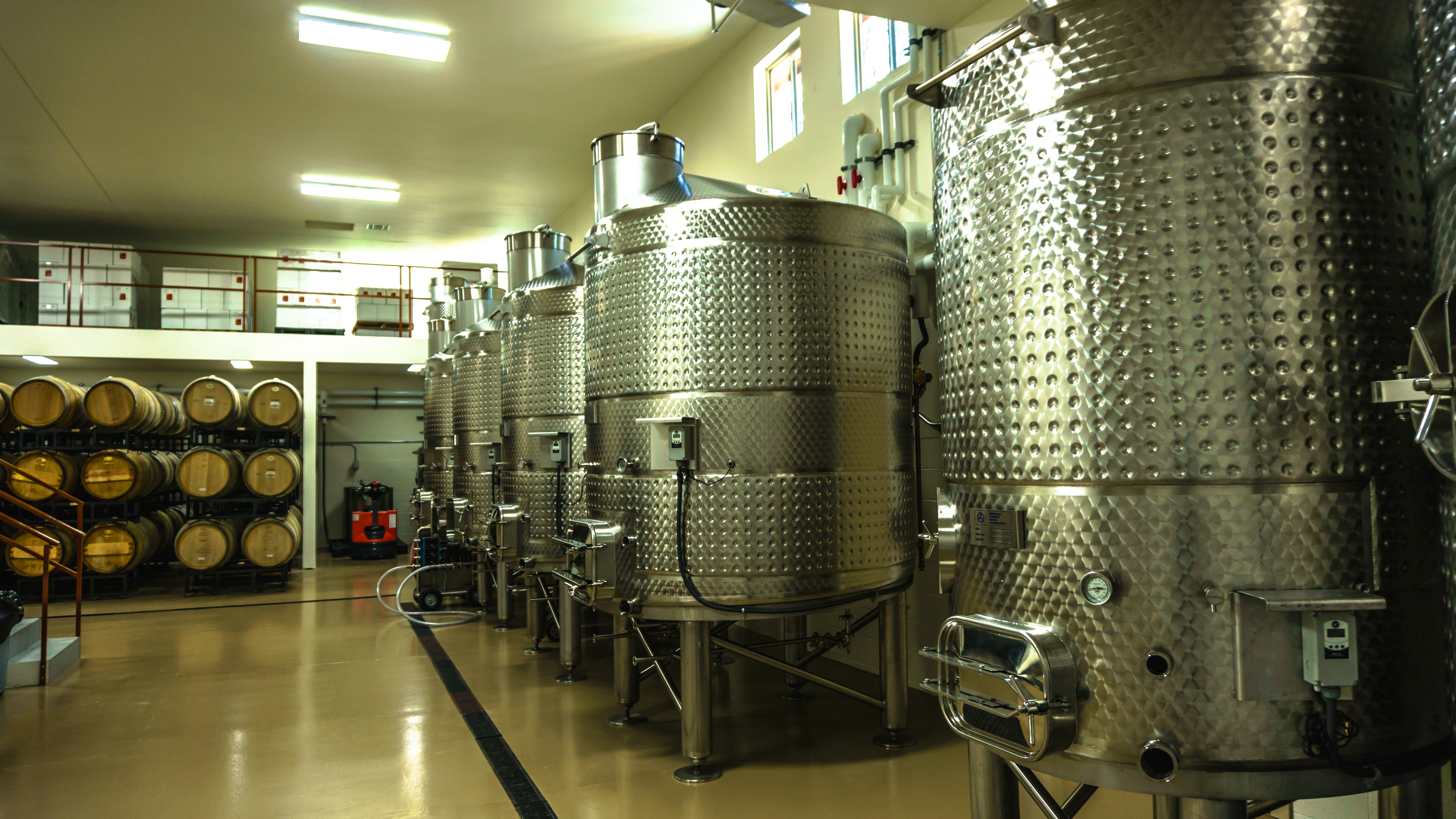 Steel wine tanks in winery
