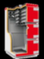 Промышленный твердотопливный котел отопления Heiztechnik Q Max Plus разрез