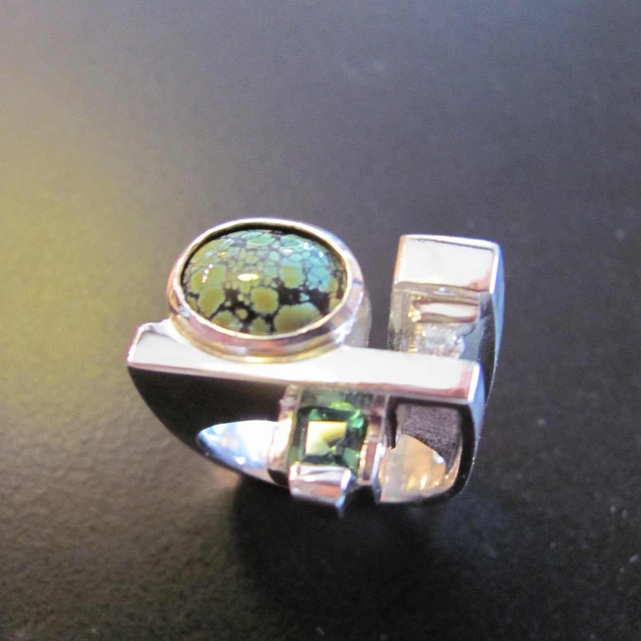 Turquoise and Tourmaline Ring