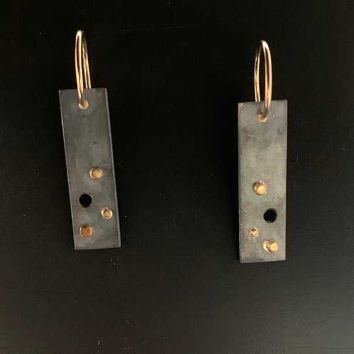 Sterling Silver Patina & 14k Yellow Gold Earrings