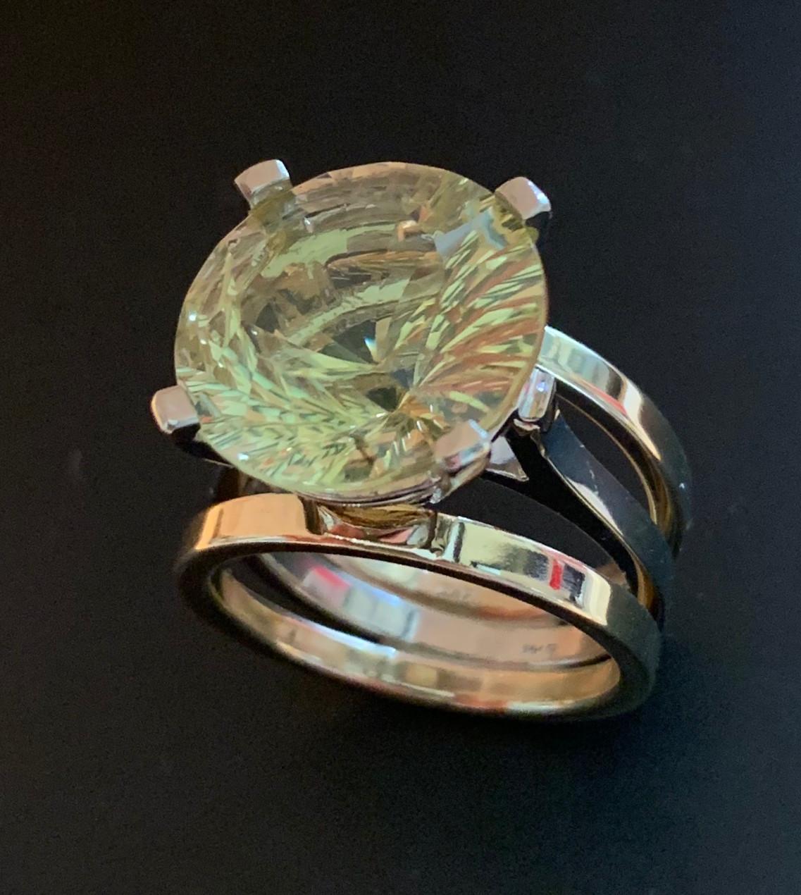 Citrine fancy cut ring in 14k