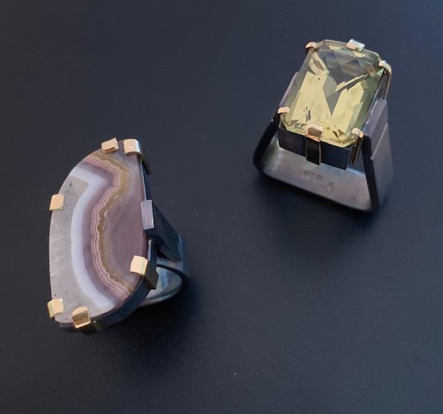 2 rings-Lemon quartz and agate