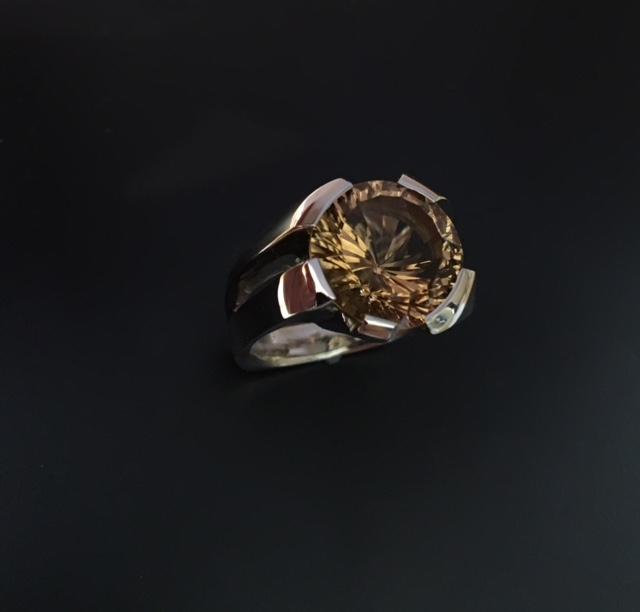 Smokey quartz ring in 14k whit
