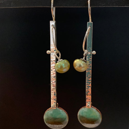 Sterling Enamel & Green Pearl Earrings