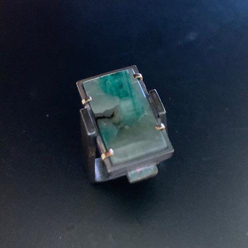 Emerald in Quartz Ring