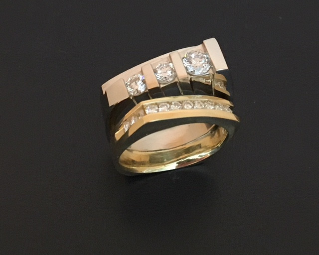 custom two-toned 14k and 18k ring