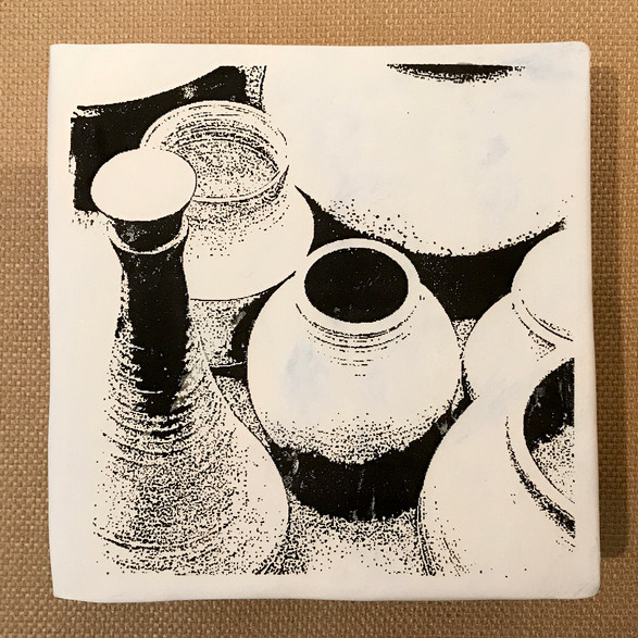 Screen Printed Tile: Pots