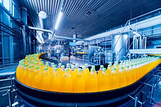 Beverage factory interior. Conveyor with