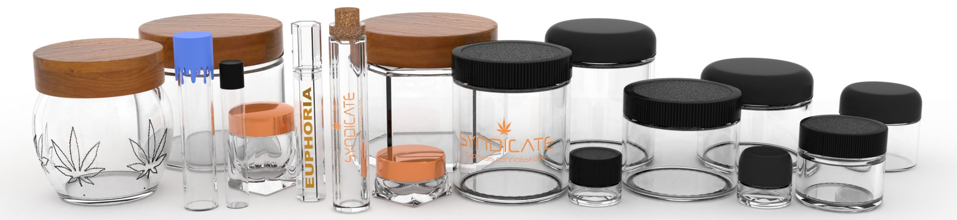 glass jars and preroll tube composition