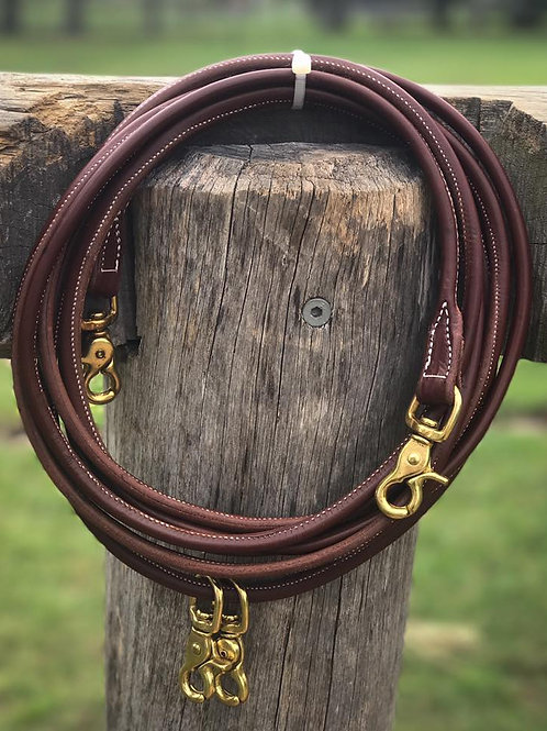 Rolled Leather Pre Oiled Draw Reins