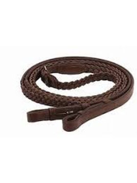 Extra Long Plaited Leather English Reins