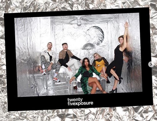 branded photo booth print with bespoke silver tinfoil backdrop installation