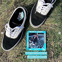 square photo booth print on grass with trainers
