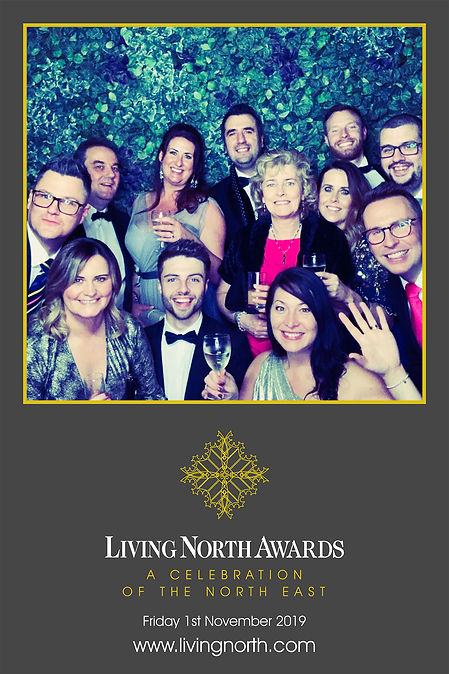 branded 6x4 photo booth print from the Living North Awards 2019 in Newcastle upon Tyne