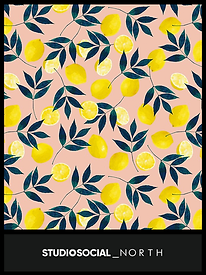 photo booth backdrop with lemons design