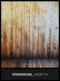 photo booth backdrop with rustic wood and lights design