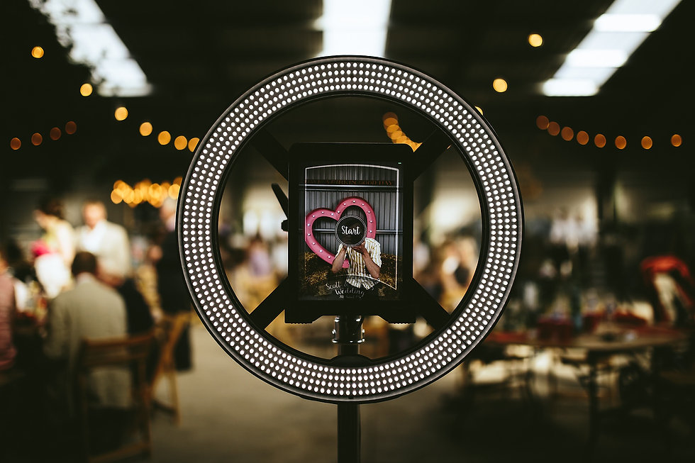 studio style photo booth at warehouse wedding in northumberland