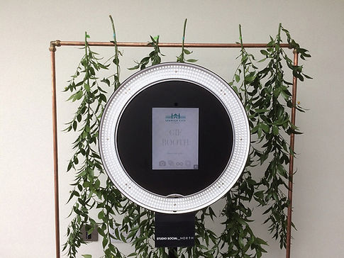 Gif Booth with foliage background at Spanish City in Whitley Bay, North East UK