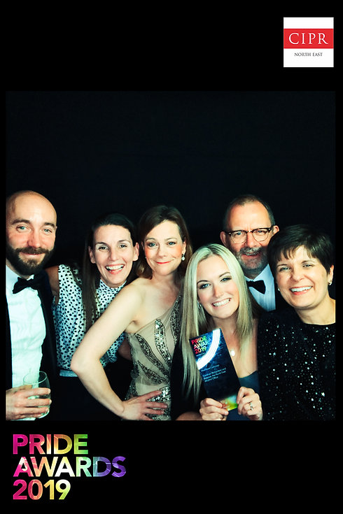 branded 6x4 pohto booth print from the CIPR awards ceremony at The Biscuit Factory, Newcastle upon Tyne
