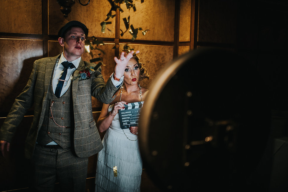 bride and groom in the gif booth at The Vermont Hotel, Newcastle upon Tyne