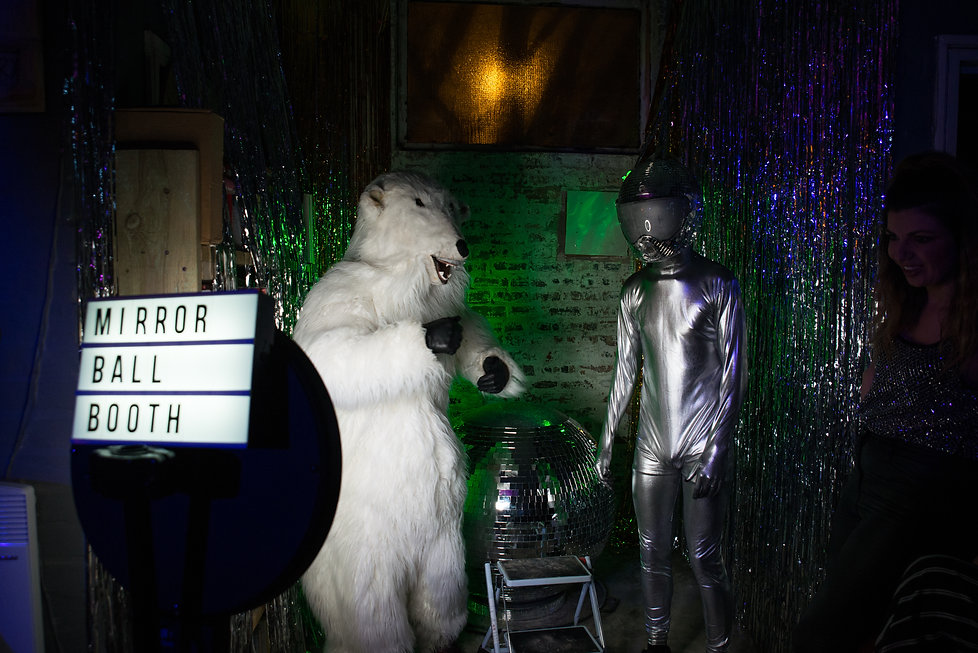 Polar Bear and Disco Alien in the gif booth at Alphabetti Theatre in Newcastle upon Tyne
