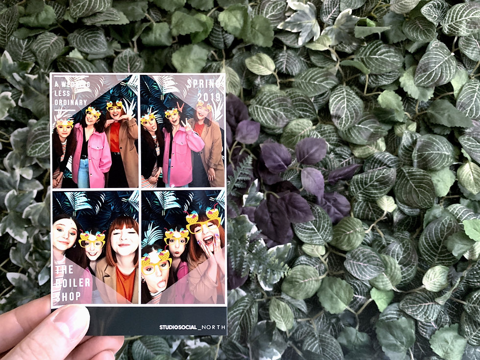 6x4 photo booth print with palm leaf backdrop from a wedding fair in Newcastle upon Tyne, North East