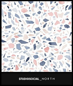 photo booth backdrop with terrazzo design
