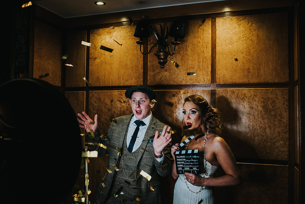 bride and groom in the gif booth at their wedding at the Vermont Hotel, Newcastle upon Tyne
