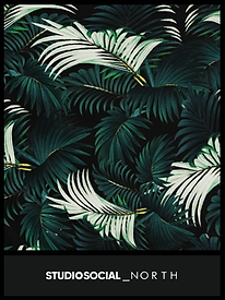photo booth backdrop with palm leaf design