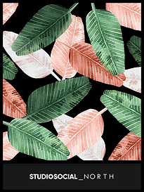 photo booth backdrop with banana leaf design