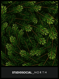 photo booth backdrop with pine branches design