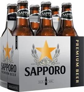 Sapporo Premium Lager 6 Pk Bottles